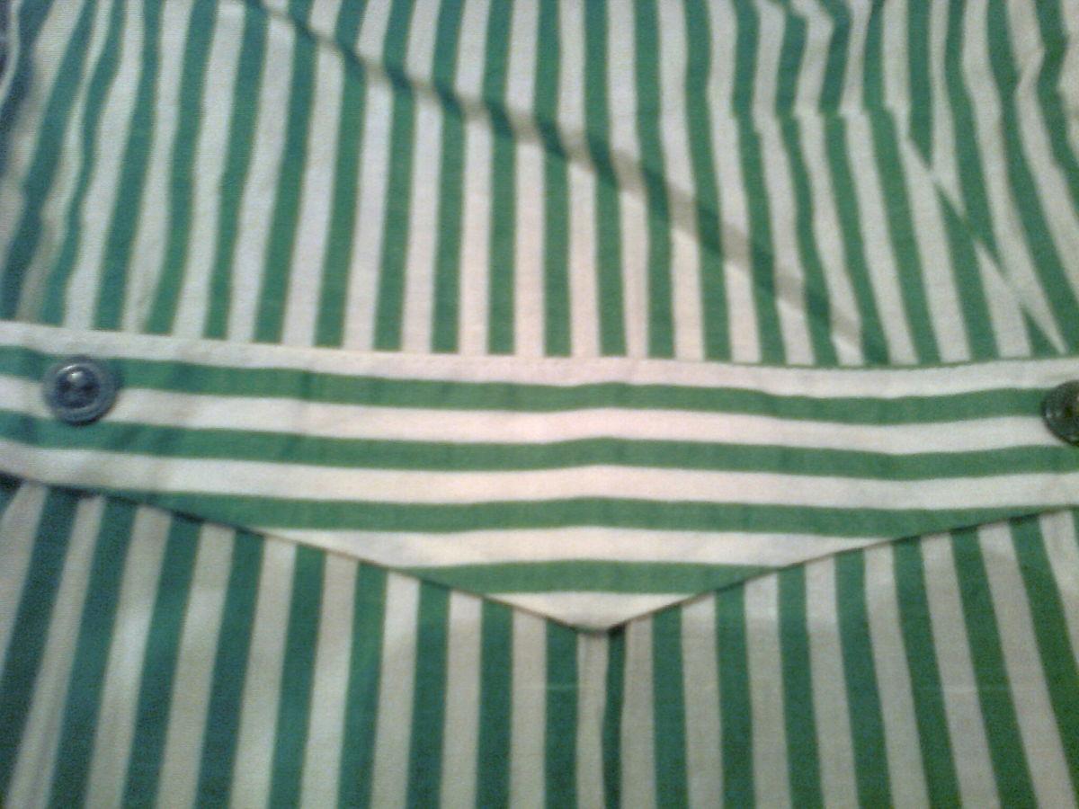 Фото 7 - Нарядная кофта в зеленую полоску на пуговицах, сзади -пояс,х/б.Новая