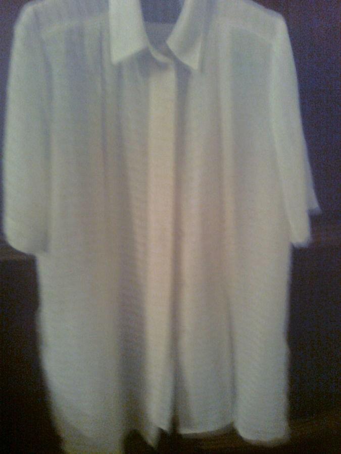 Фото - Красивая рубашка с коротким рукавом, сзади - кокетка со складкой