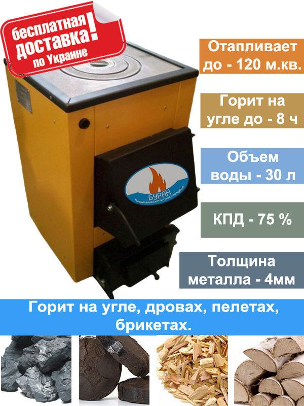 Фото - Котел твердотопливный Буран mini 12-18 кВт