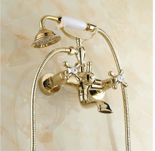 Смеситель золотой для ванной