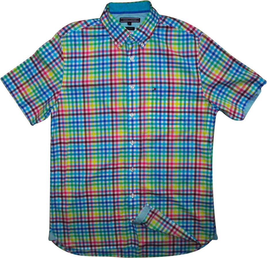 Фото 3 - Мужская рубашка в клетку желтая зеленая синяя яркая TOMMY HILFIGER M