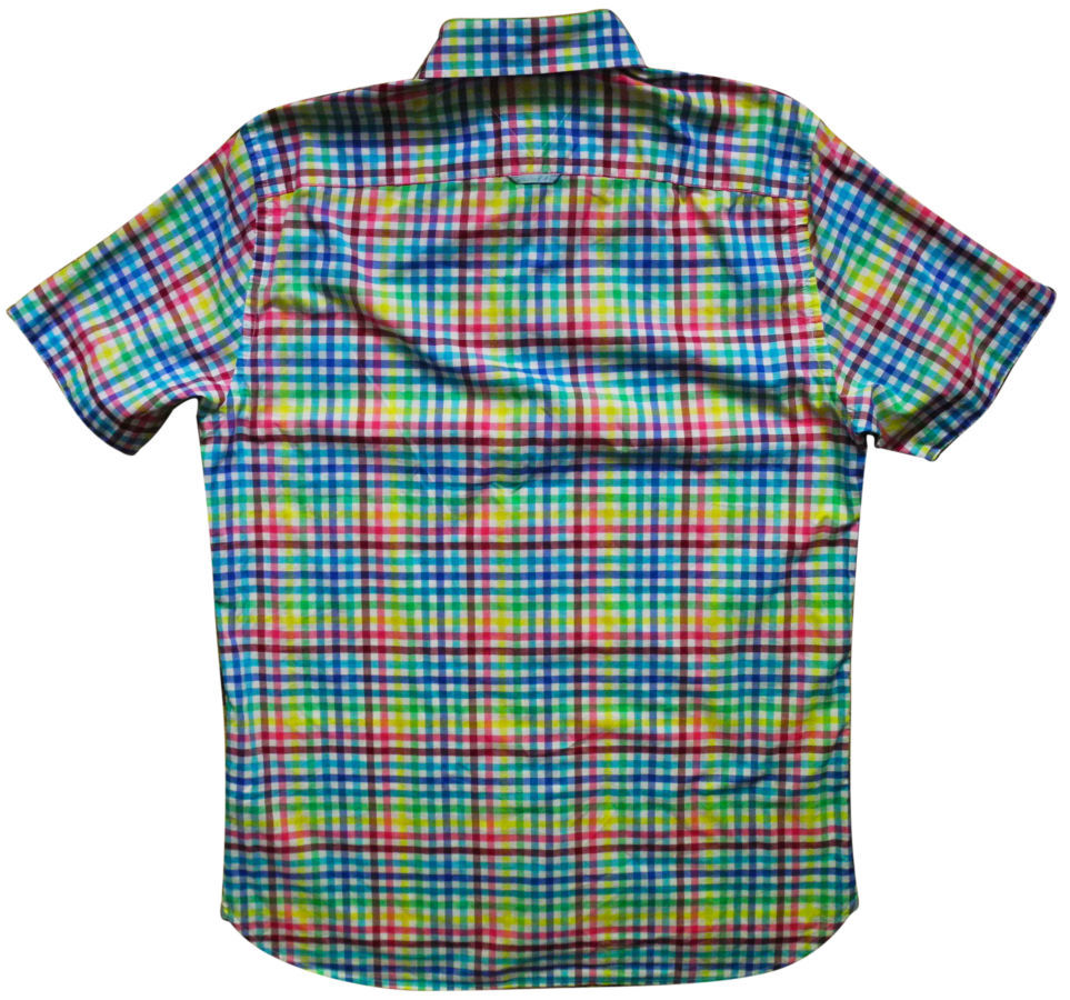 Фото 4 - Мужская рубашка в клетку желтая зеленая синяя яркая TOMMY HILFIGER M