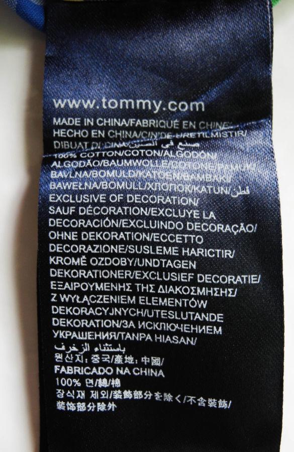 Фото 7 - Мужская рубашка в клетку желтая зеленая синяя яркая TOMMY HILFIGER M