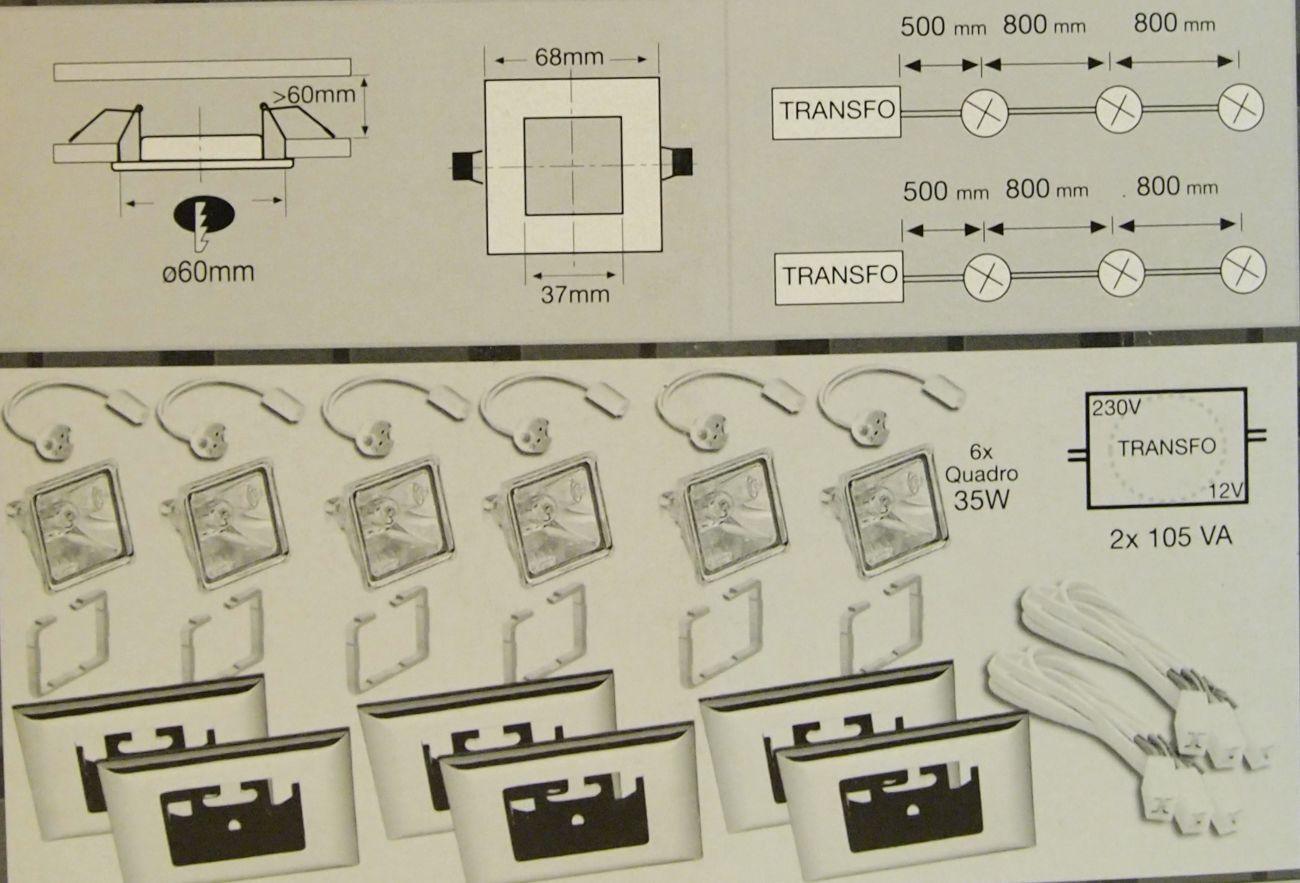Фото 3 - Набор встроенных светильников Paulmann, на 6 точек,квадратные, металл
