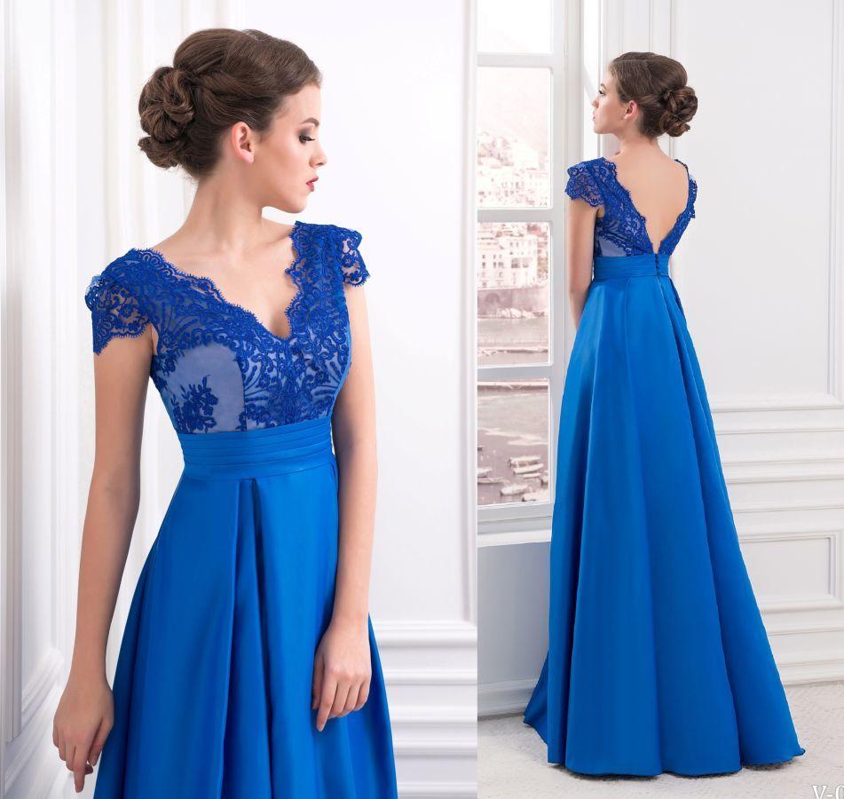 Синие платья в пол на выпускной