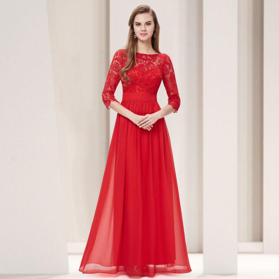 Красное платье с кружевом в пол