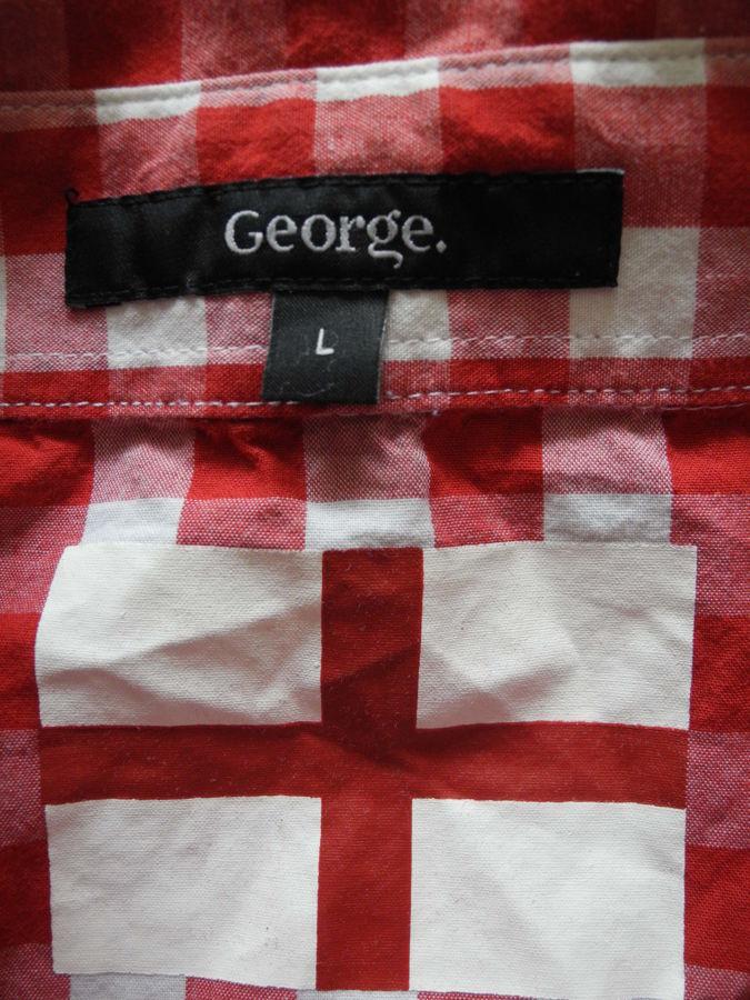 Фото 4 - Мужская рубашка в клетку красная яркая George L