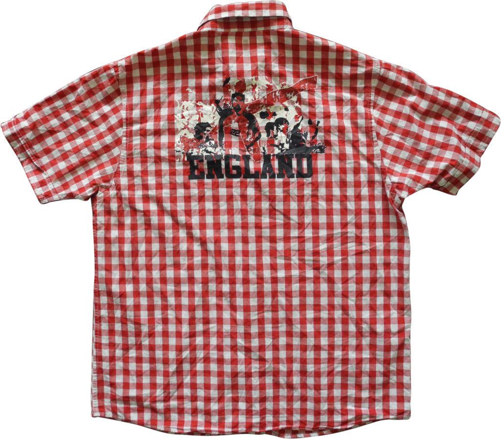 Фото 3 - Мужская рубашка в клетку красная яркая George L