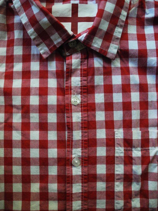 Фото 5 - Мужская рубашка в клетку красная яркая George L