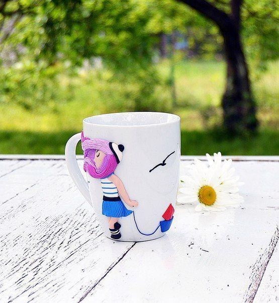 Чашка декорированная полимерной глиной, чашка с фигуркой