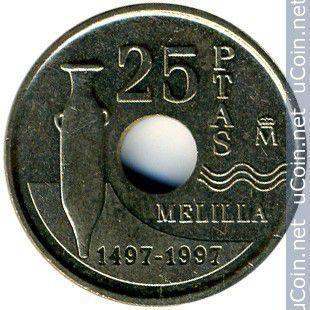 Испания 25 птас 1997 год. мелилья.