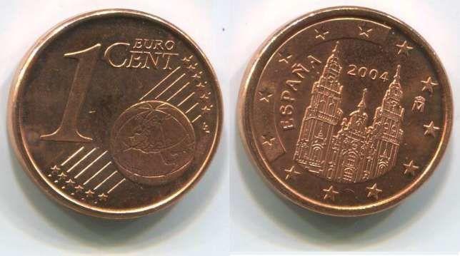 Испания 1 евроцент 2004 г