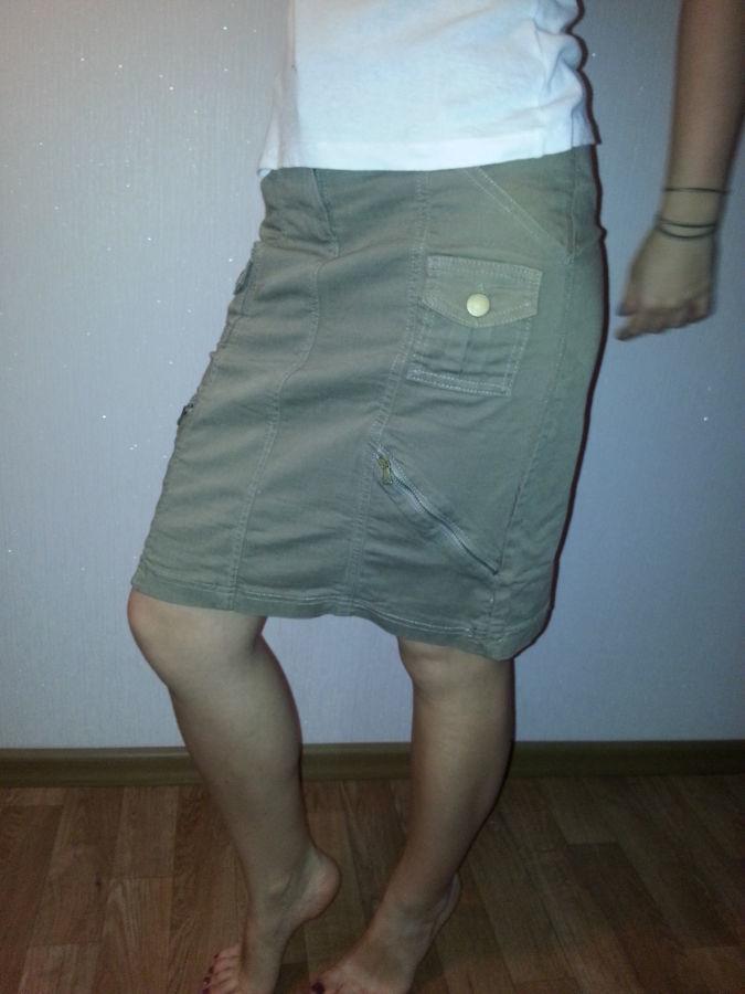Фото - юбка прямая,стрейчевая, цвет хакки