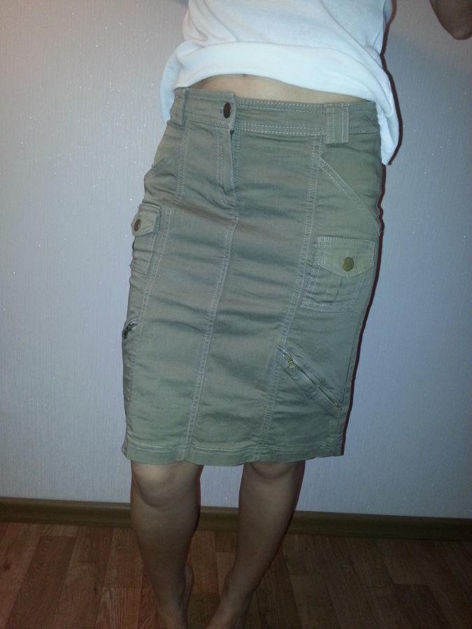 Фото 2 - юбка прямая,стрейчевая, цвет хакки