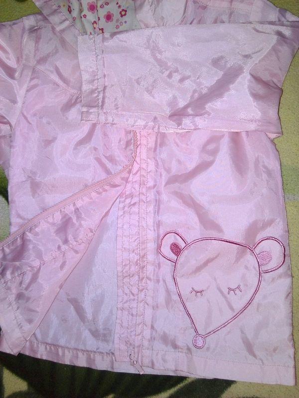 Фото 2 - Плащ розовый, для девочки с капюшоном - Б/У