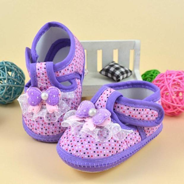 Фото - Первая обувь для малышки с бантом - Новая