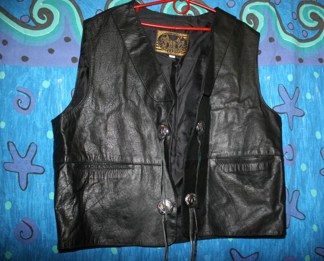 Мото жилетка,мотожилетка кожаная Stars & Stripers,USA,Leather,XXL