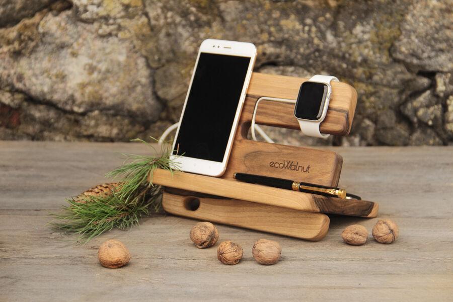 Настольный органайзер для часов телефона смартфона кошелька из дерева