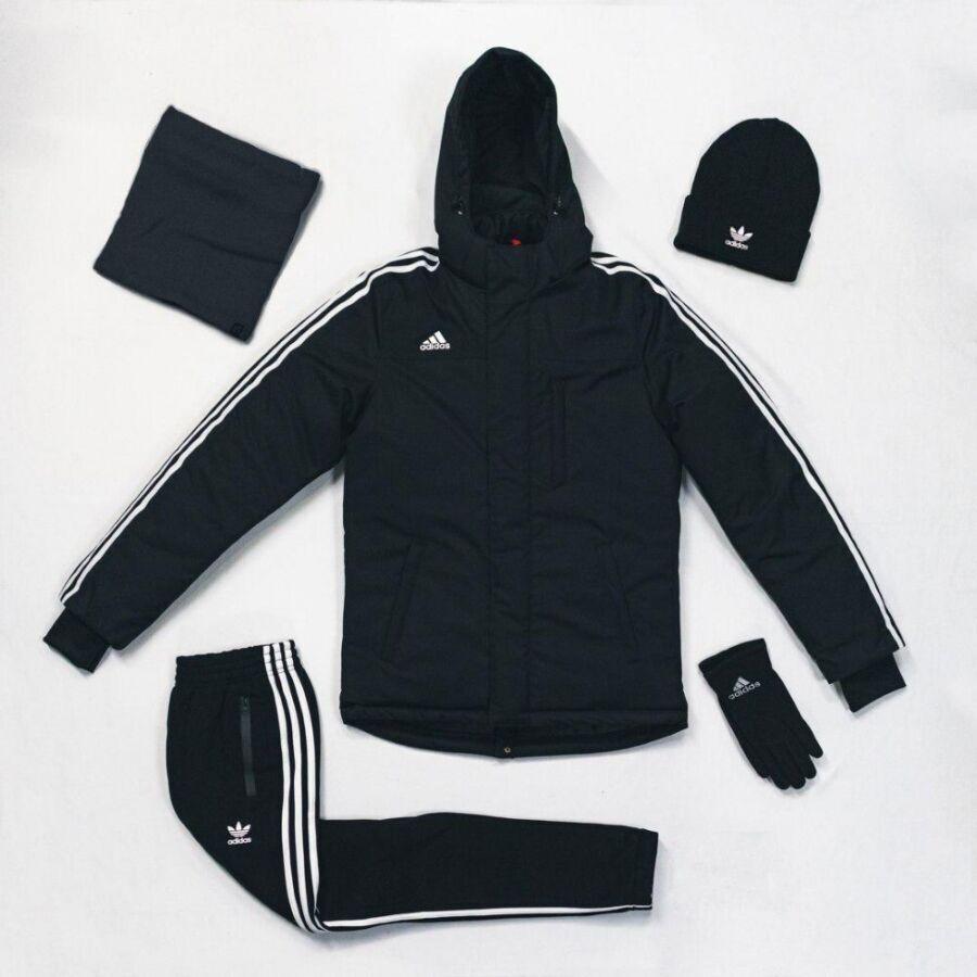 Утеплённый спортивный комплект Adidas Originals черный