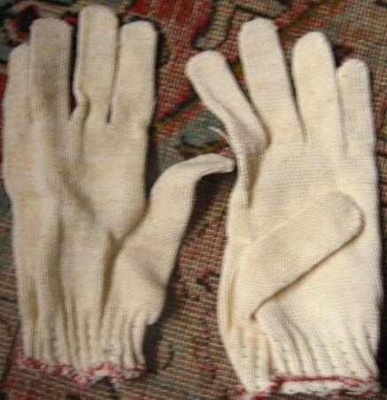 перчатки хозяйственные садовые хлопковые белые бежевые, торг
