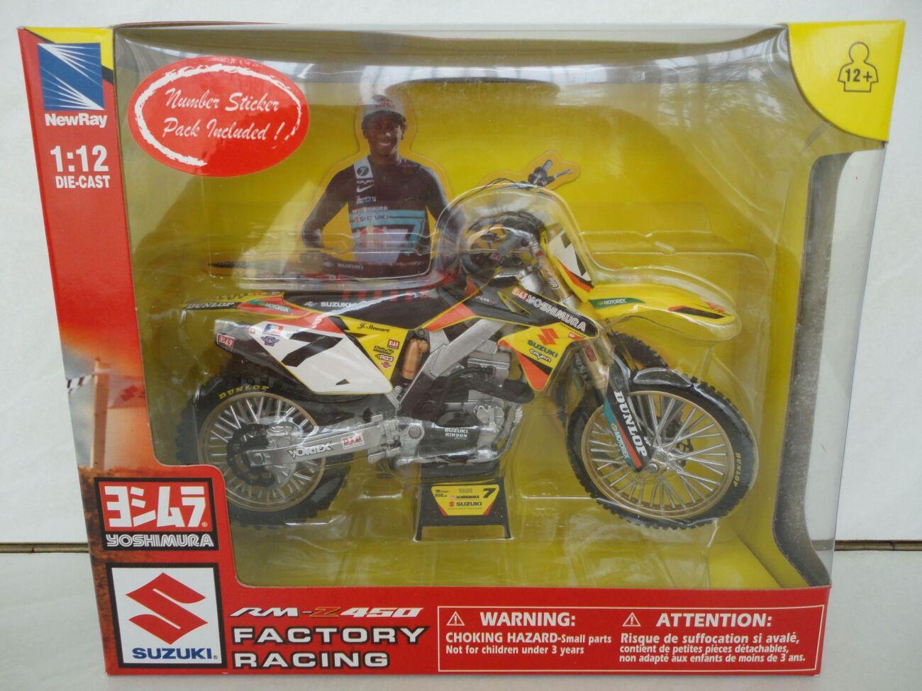 Модель мотоцикл 1:12 Suzuki RM Z 450 #7 мотокрос New Ray крос игрушка