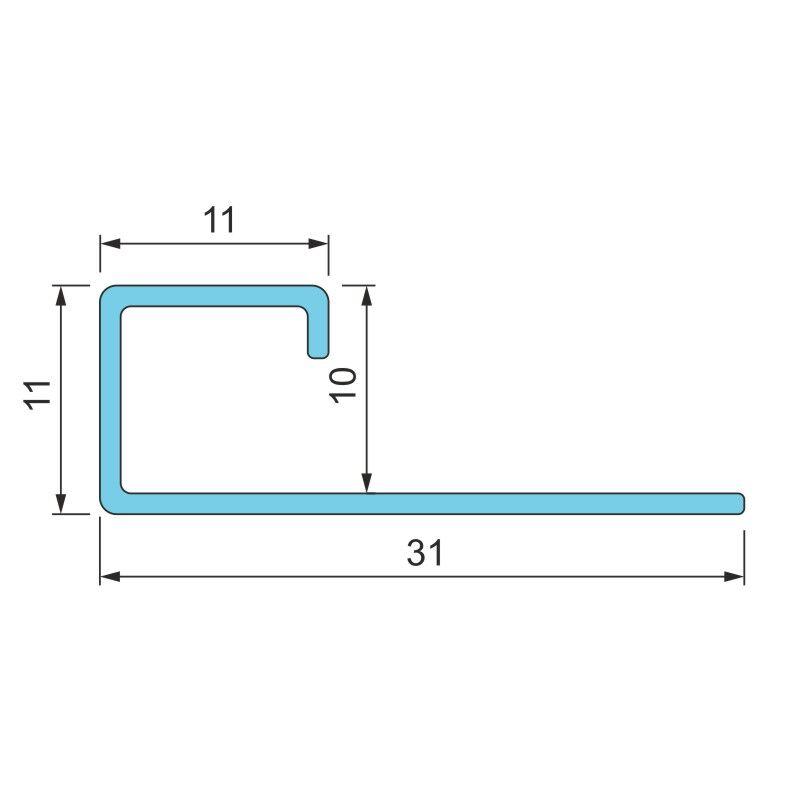 Алюмінієвий профіль квадратний для плитки 10мм анодований