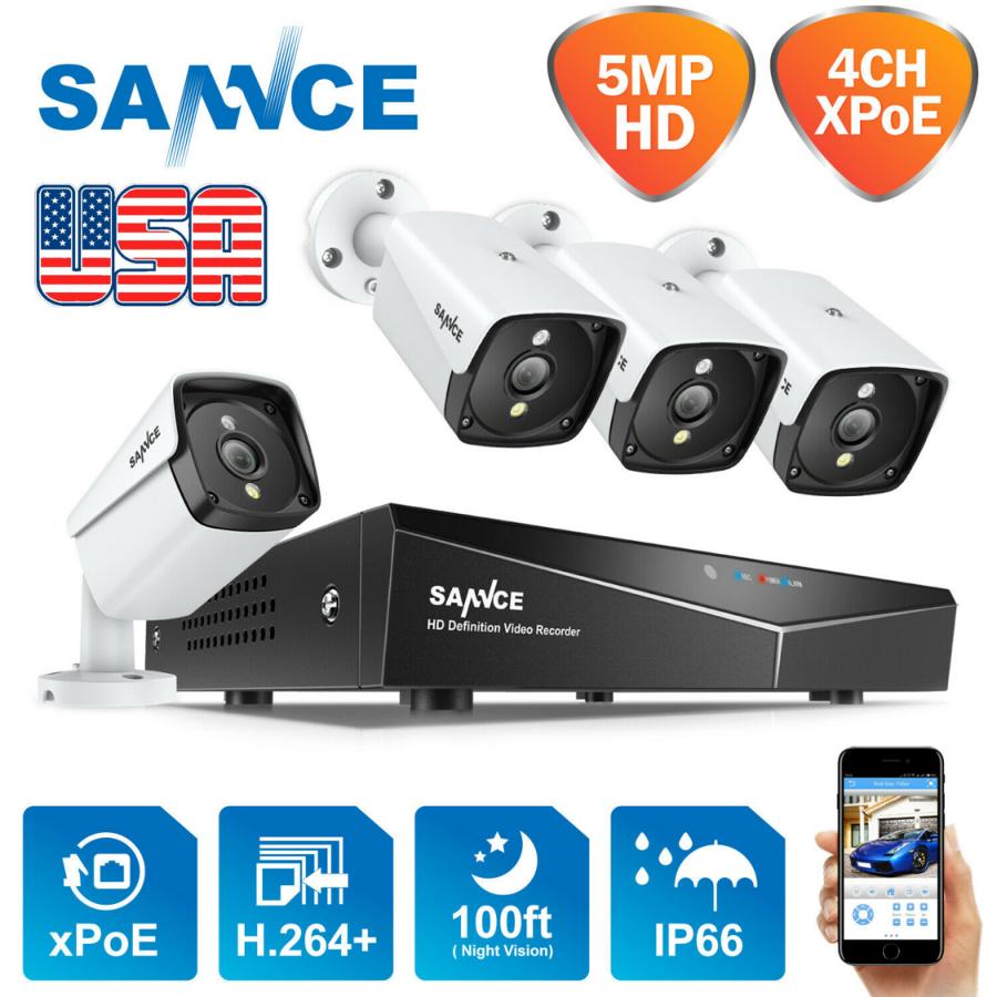 SANNCE 5mp UHD 4 камери XPoE відеонагляду із США кращий в 2020р