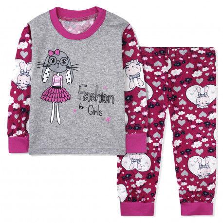 Пижама для девочки, фиолетовая. Милая зайка.