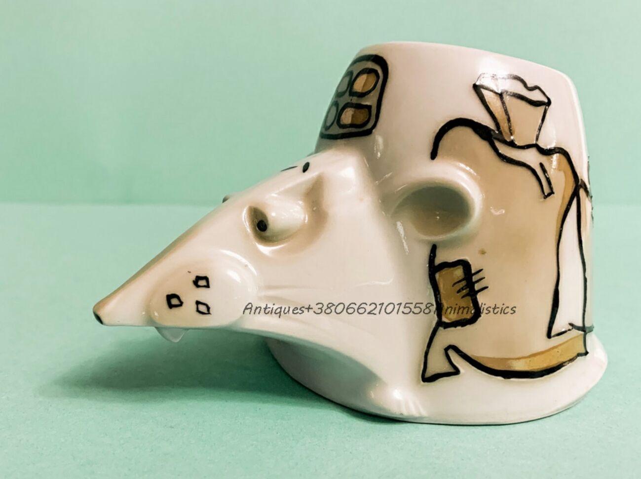 Фарфоровая статуэтка фарфор Крыса карандашница Бориславский фарфоровый