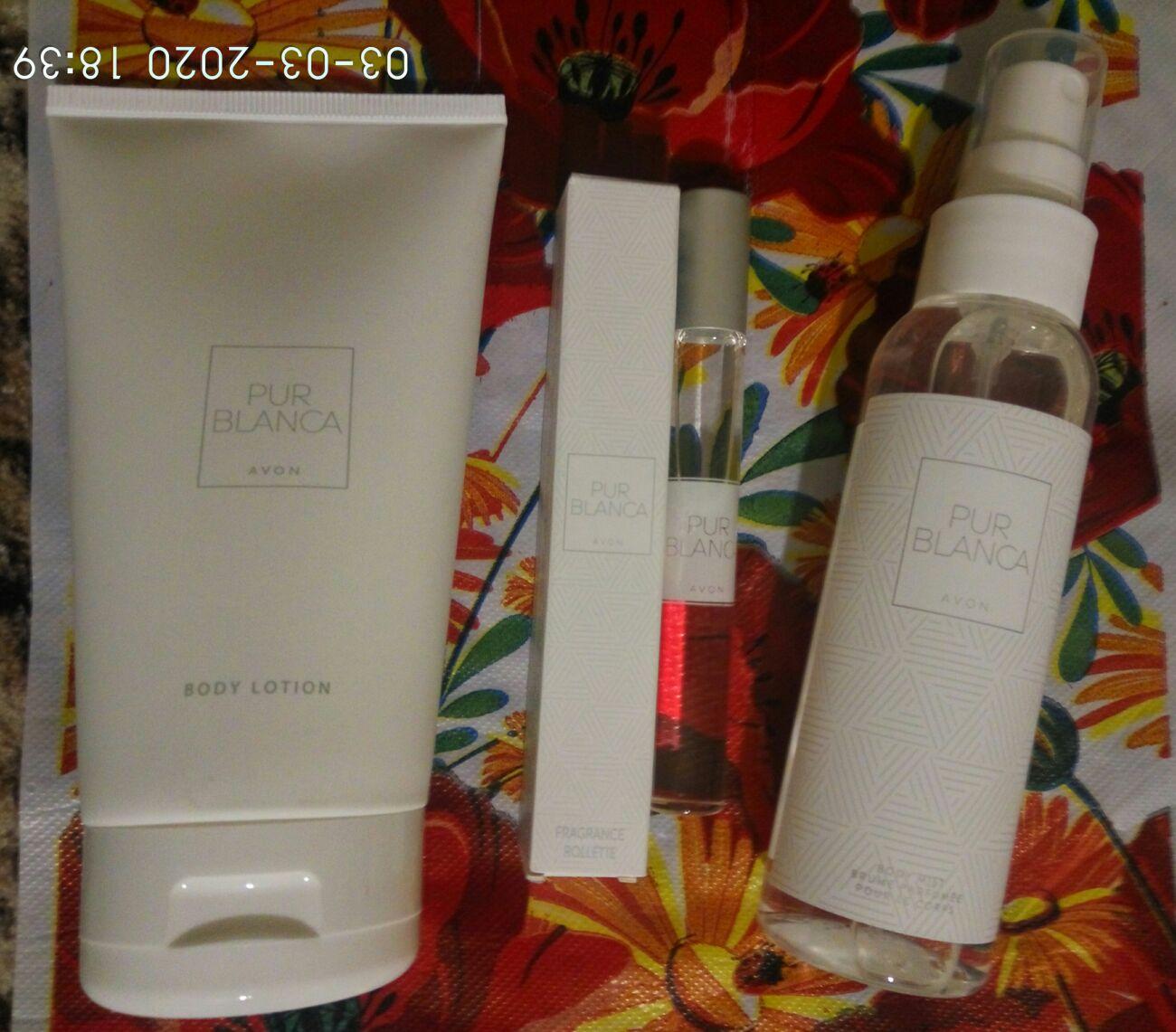 Женский подарочный набор 3шт Avon Pur Blanca духи спрей лосьон для тел