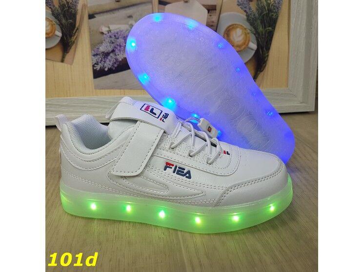 Детские кроссовки белые фила светящиеся с подсветкой Led 27-32р 29 (10