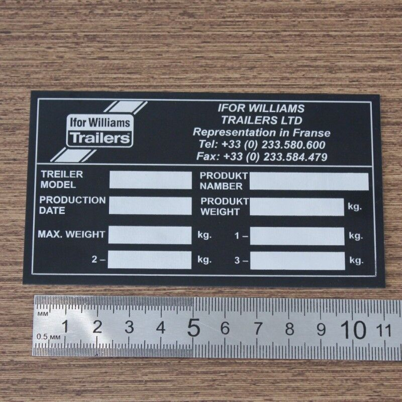 Табличка на прицеп Ifor Williams Trailers