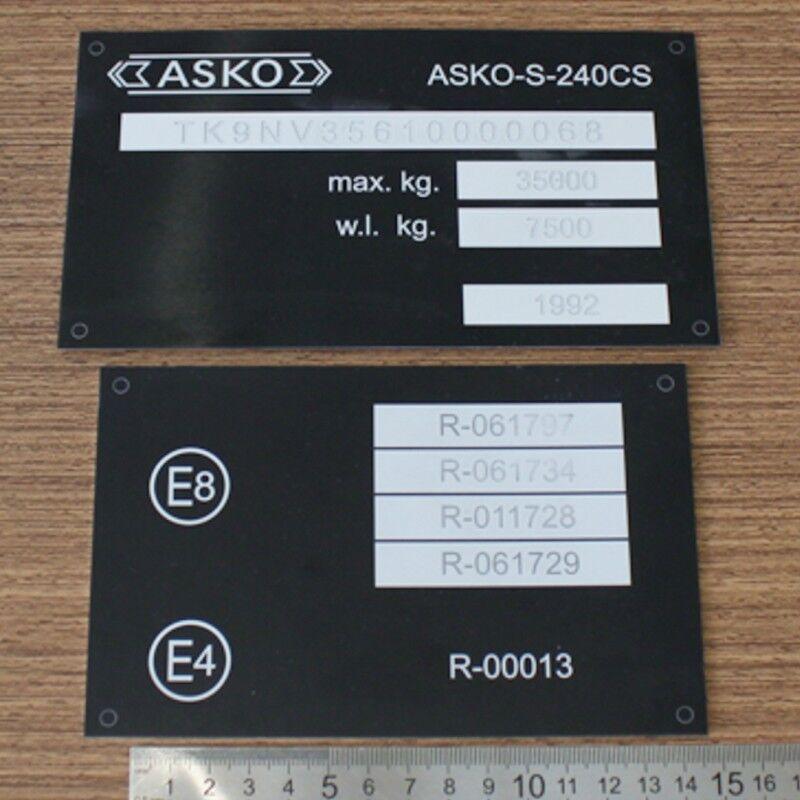 Табличка на полуприцеп платформа Asko S-240cs