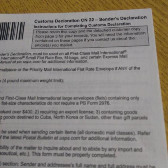 CN 22 US customs declaration USPS чистые бланки, по 10шт