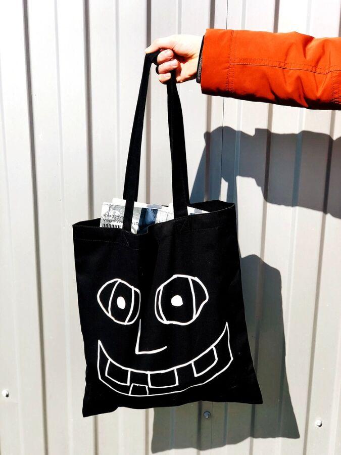 Базовая черная экосумка шоппер торба с принтом рисунком для покупок