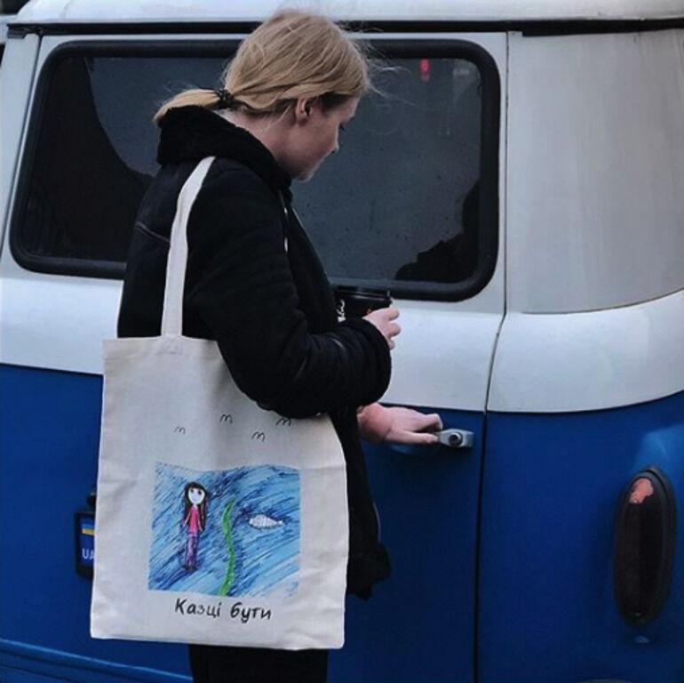 Базовая бежевая экосумка шоппер торба с принтом рисунком