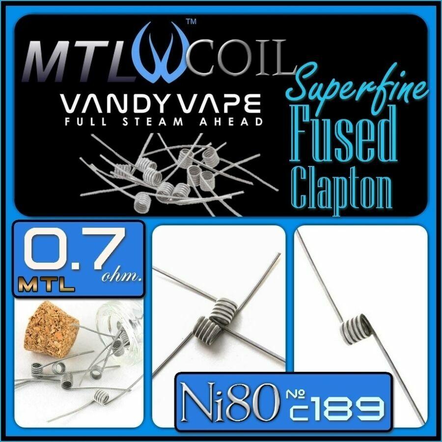 Vandy Vape Ni80 Superfine MTL Fused Clapton COIL 0.7ohm.Нихром
