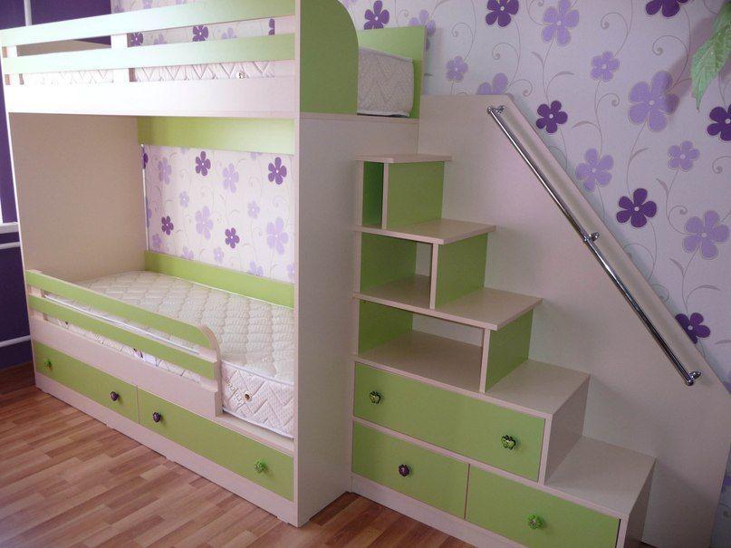 Детская кровать с лестничкой на заказ №134