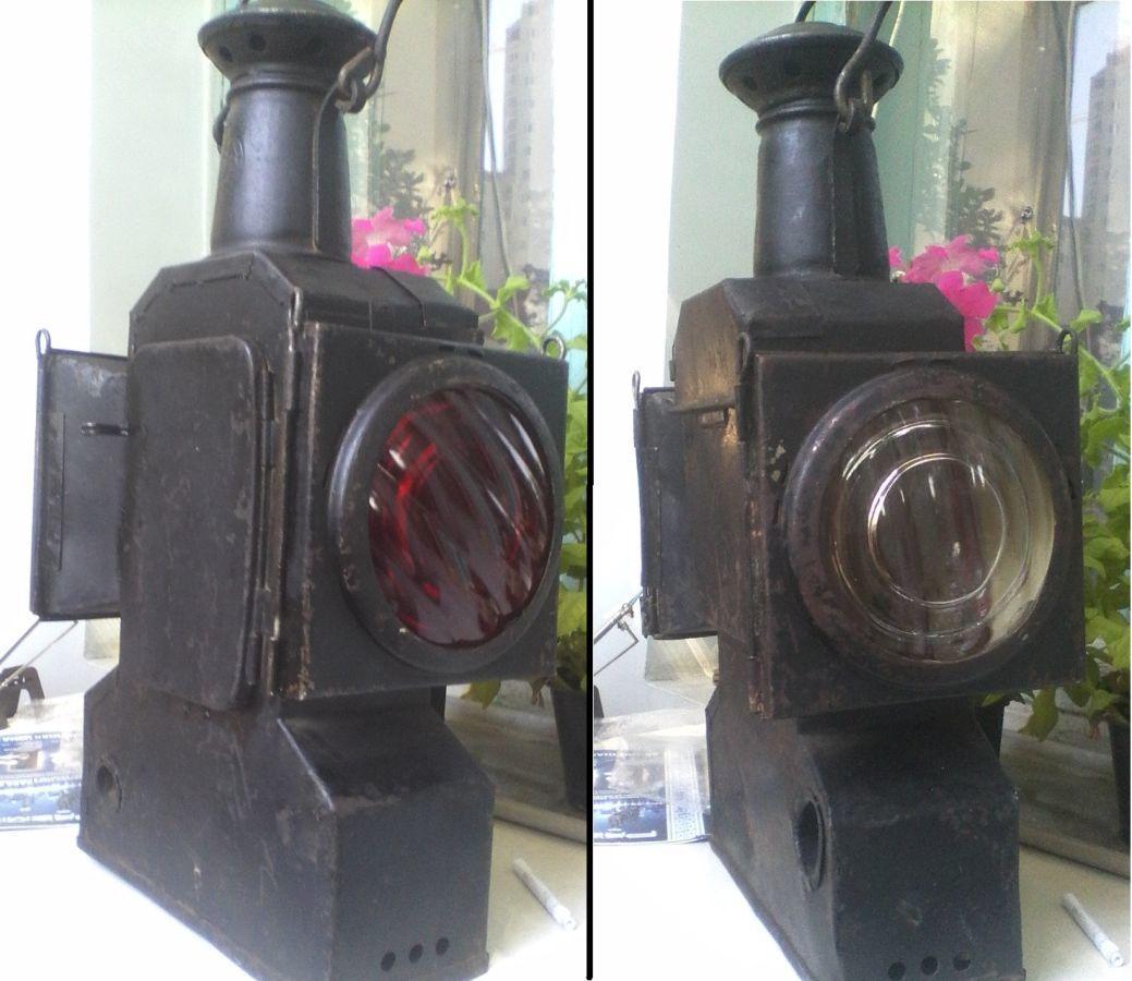 Фото 2 - Фонарь железнодорожный,старинный,керосиновый.
