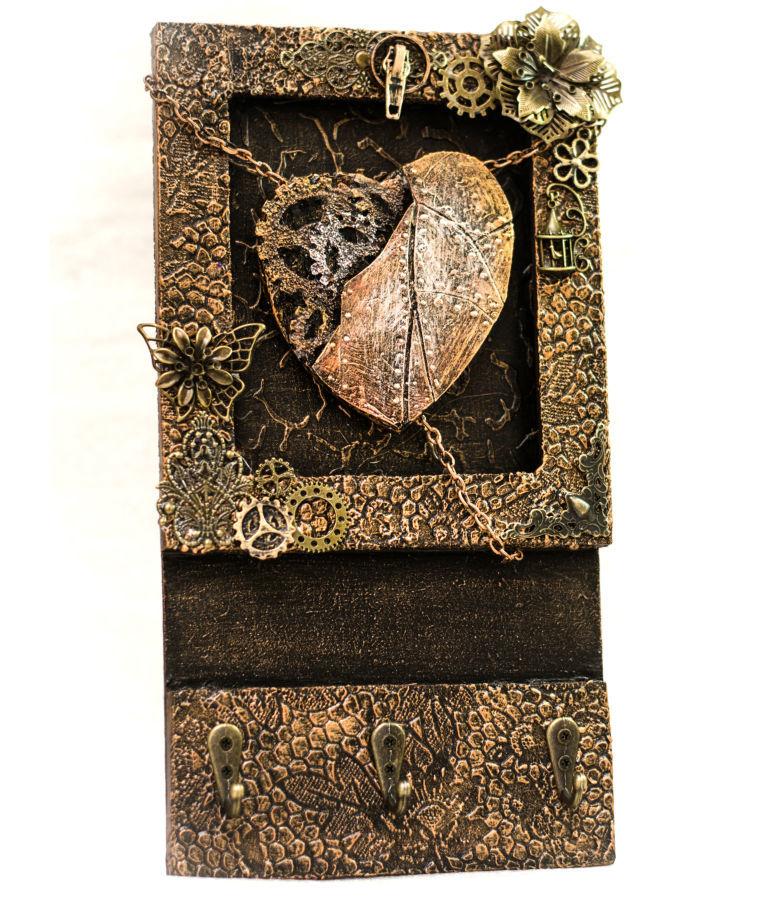 Фото 2 - Оригинальная настенная ключница ручной работы. декор для прихожей
