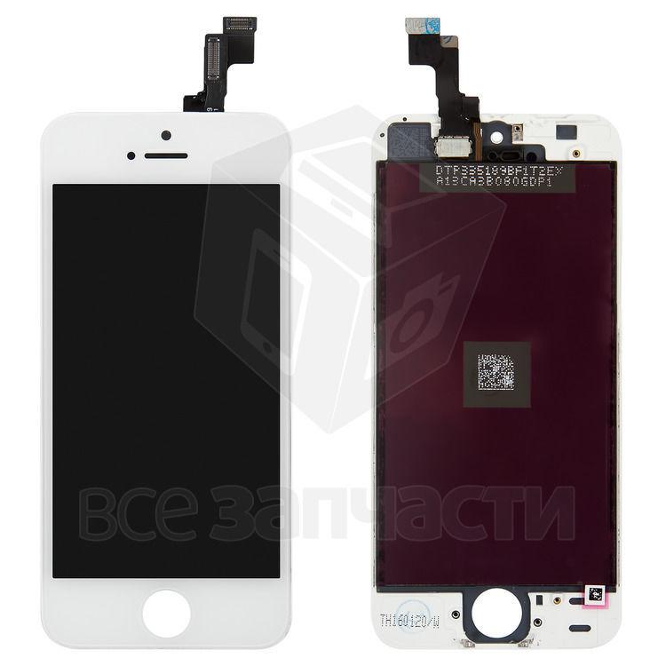 Фото - Дисплей iPhone 5S, белый, копия, с сенсорным экраном, с рамкой