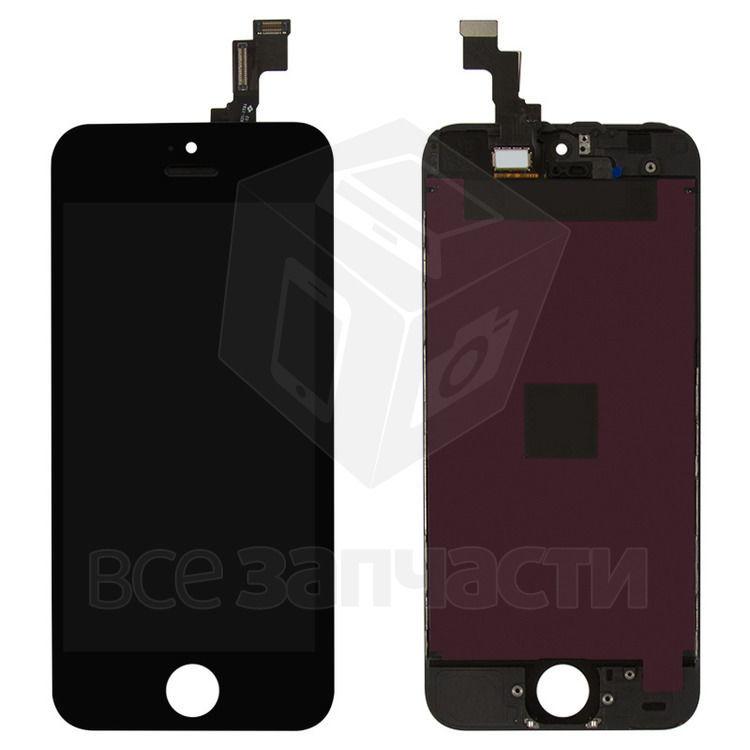 Фото - Дисплей iPhone 5S, черный, копия, с сенсорным экраном, с рамкой