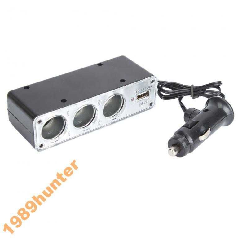 Фото - Разветвитель прикуривателя 3 + USB тройник 0324
