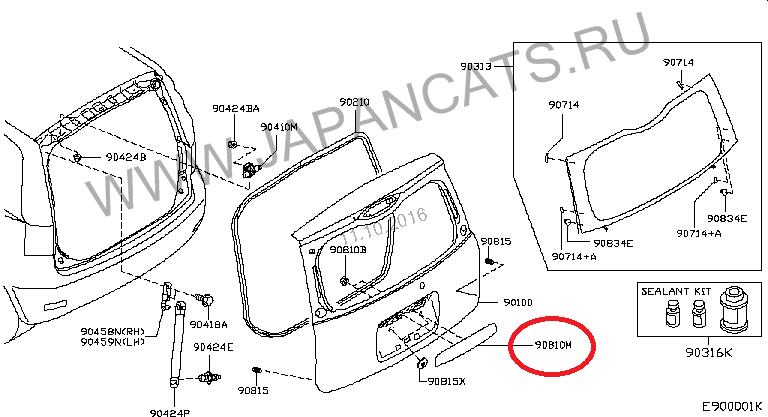 Фото 4 - Nissan Note (E11) Накладка двери багажника 908129U11H