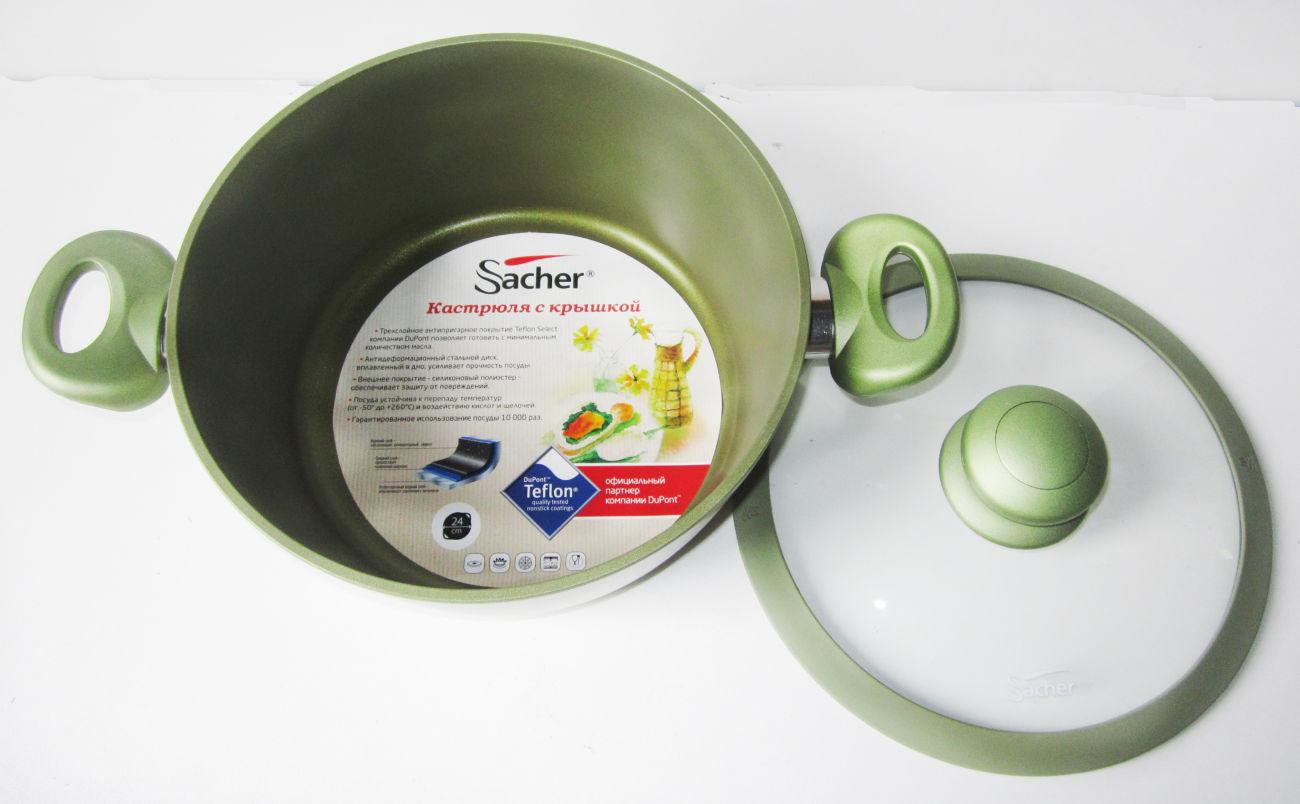 Фото 2 - Кастрюля Sacher 3,5 л алюминиевая с антипригарным покрытием