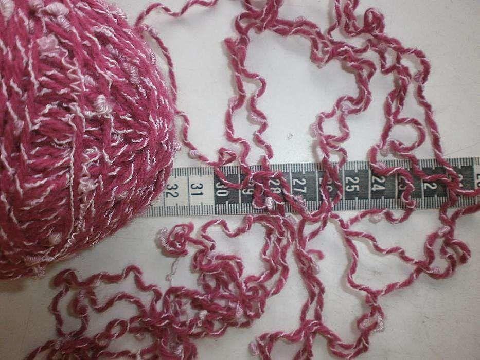 Фото 6 - Пряжа малиново-розовая с белым завитком Супер.Вес~290гр For Hand Made