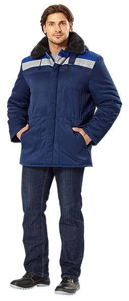 Фото - Куртка утепленная, со светоотражайками, прямая, темно-синяя