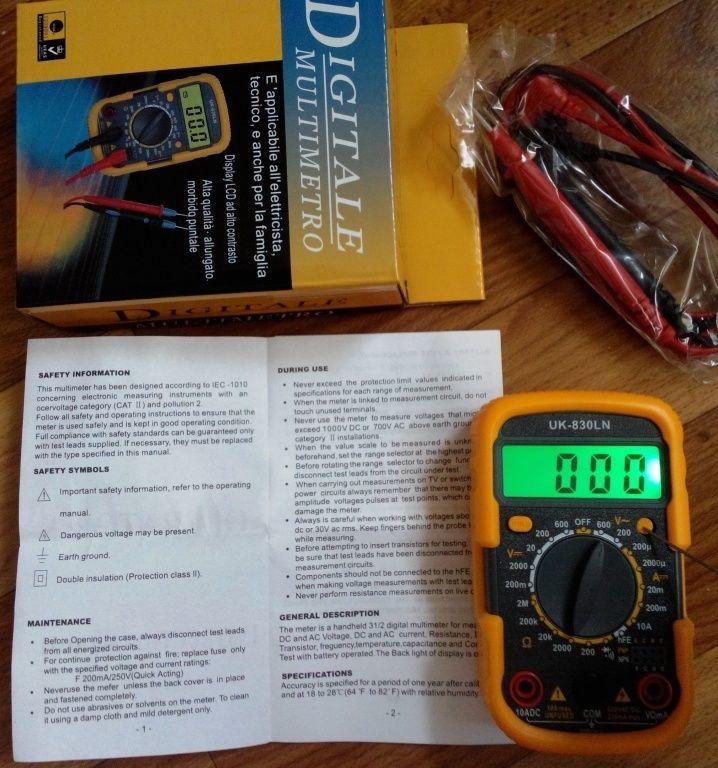 Фото 2 - Мультиметр UK-830LN - малогабаритный мультиметр с подсветкой дисплея