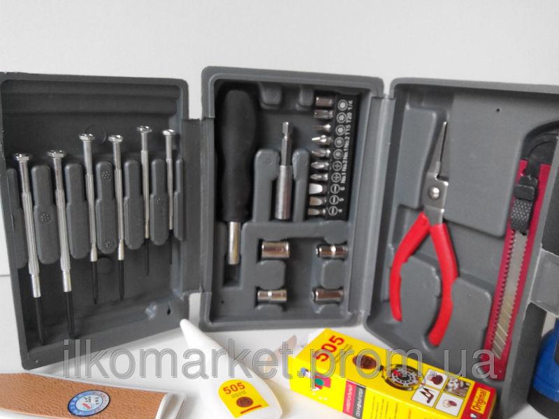 Фото 2 - Набор инструмента Фонарь нож клей головки отвертка