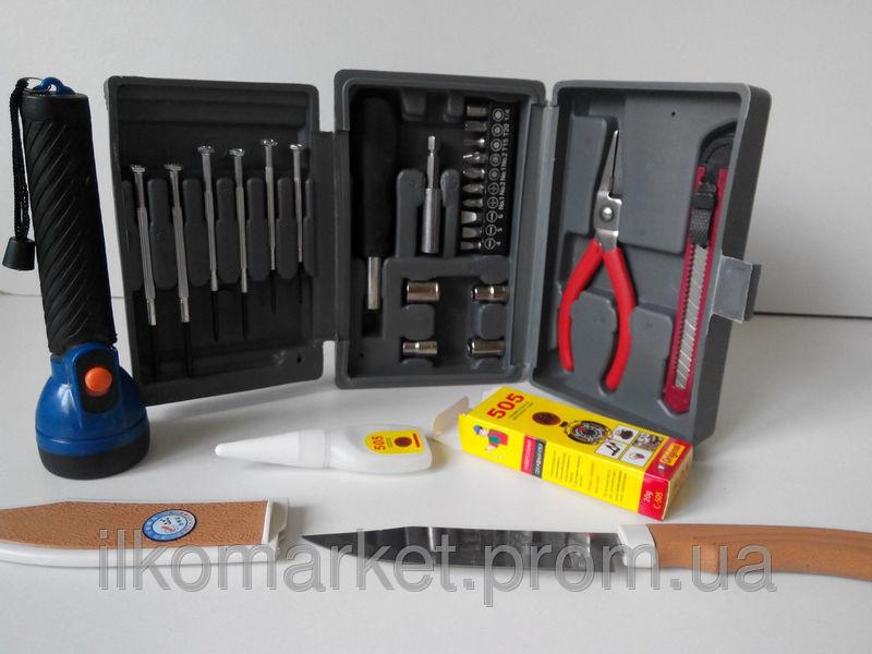 Фото 3 - Набор инструмента Фонарь нож клей головки отвертка